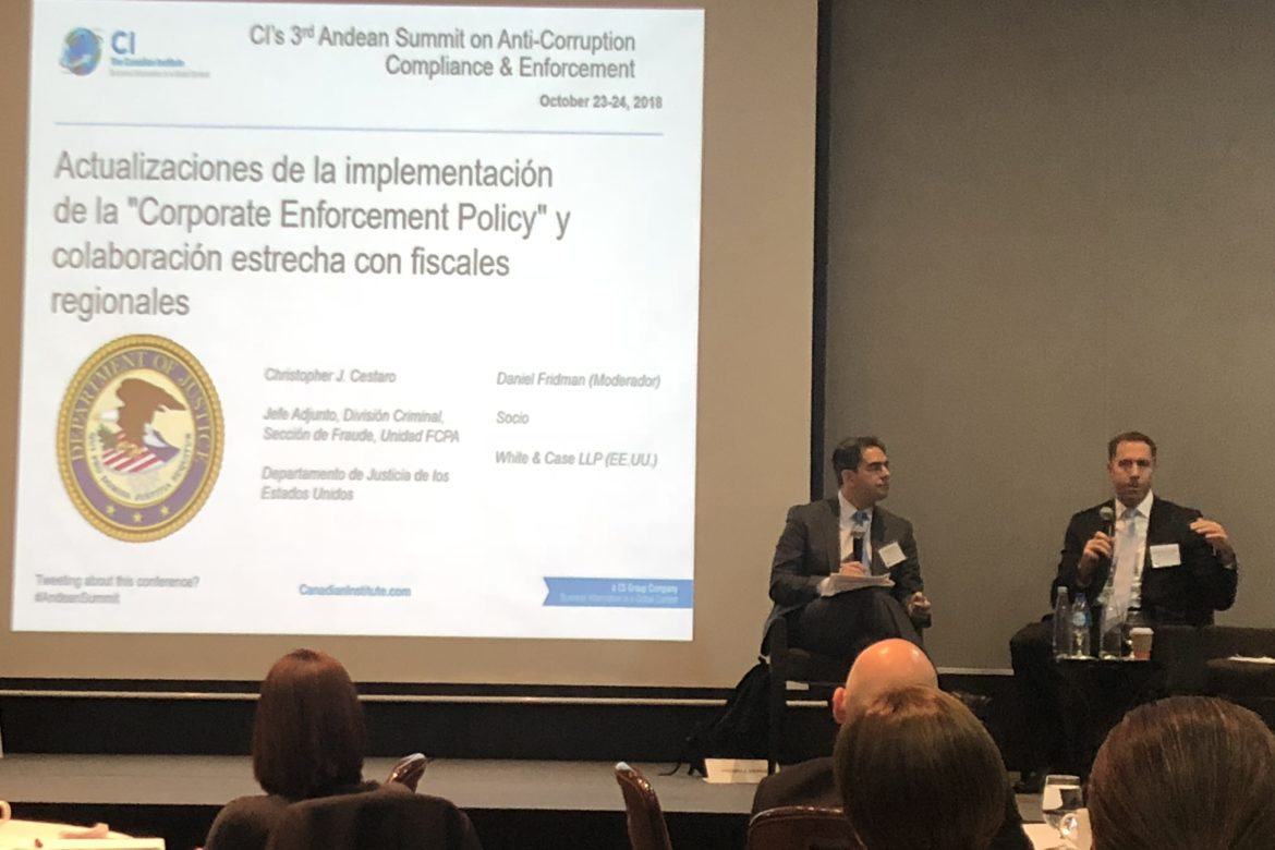 Andean Summit FCPA interview Christopher J. Cestaro US department Justice